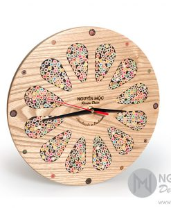 Colored-Pencil Flower Wood Clock