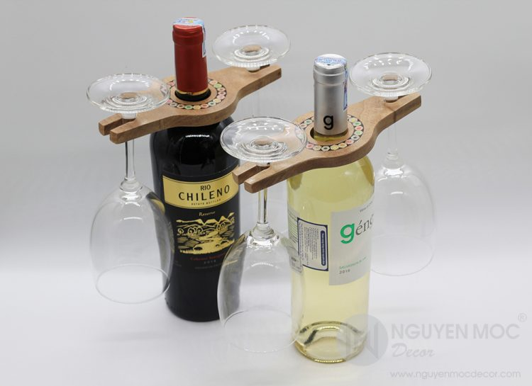 Colored-Pencil Wine Holder with 2 Long Stem Glasses