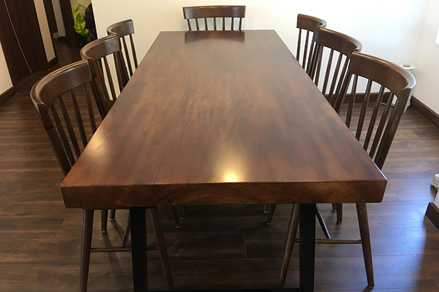 Durable wooden dining table