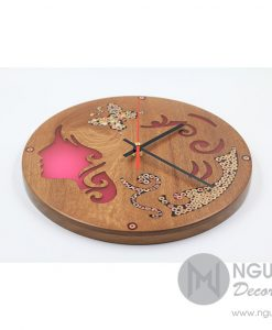 Erato Muse Resin Colored-Pencil Wood Clock