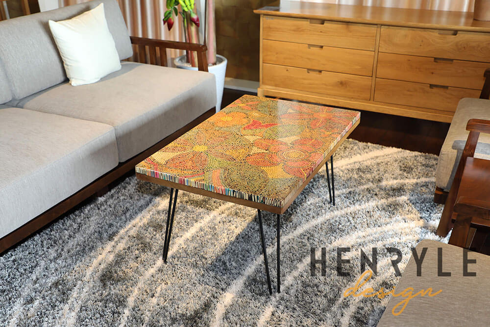 Exotic Flowers Colored-Pencil Coffee Table 3
