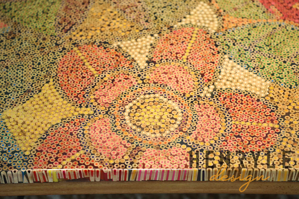 Exotic Flowers Colored-Pencil Coffee Table 6