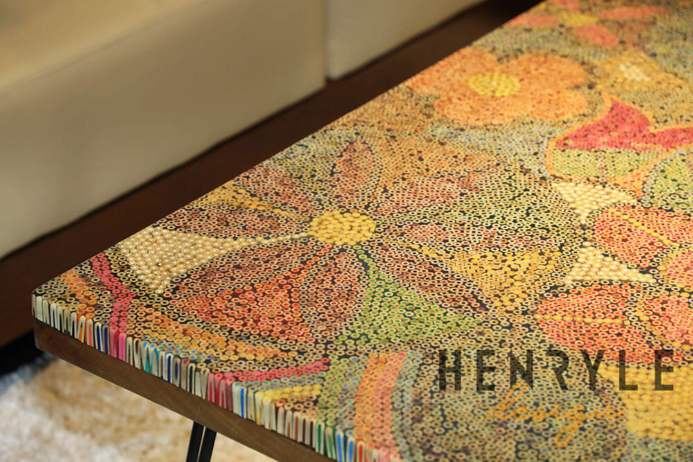 Exotic Flowers Colored-Pencil Coffee Table 7