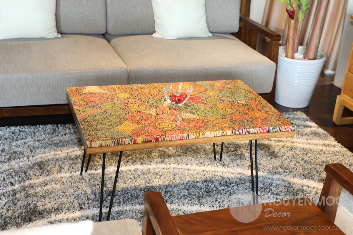 Exotic Flowers Colored-Pencil Table - Unique Decorative Coffee Tables