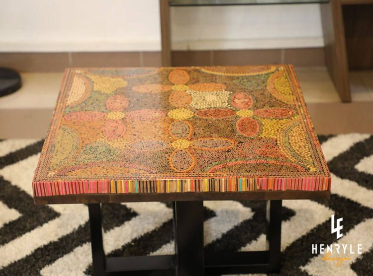 Five Blooms Colored-Pencil Coffee Table 1