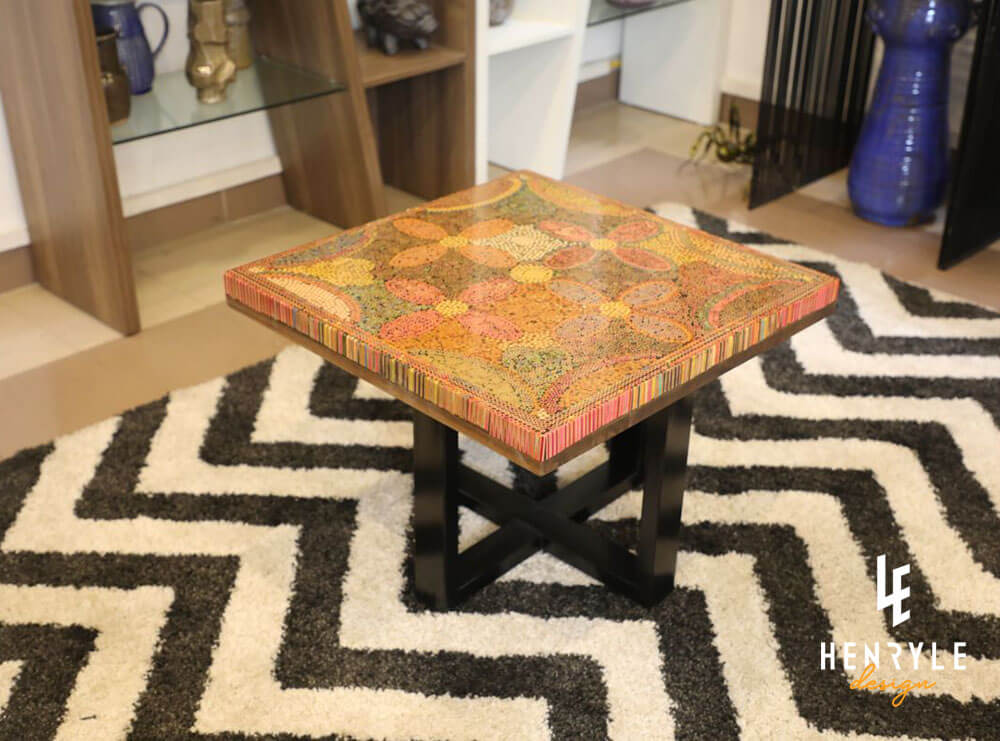 Five Blooms Colored-Pencil Coffee Table 2