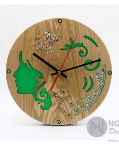 Green Muse Wood Clock