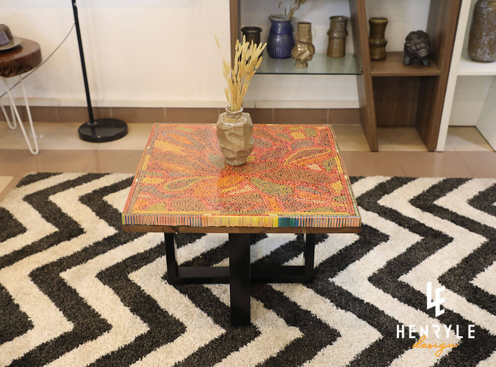 Lotus Pond Colored-Pencil Coffee Table III