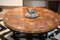 Lucky Coins Colored Pencil Coffee Table with a kettle