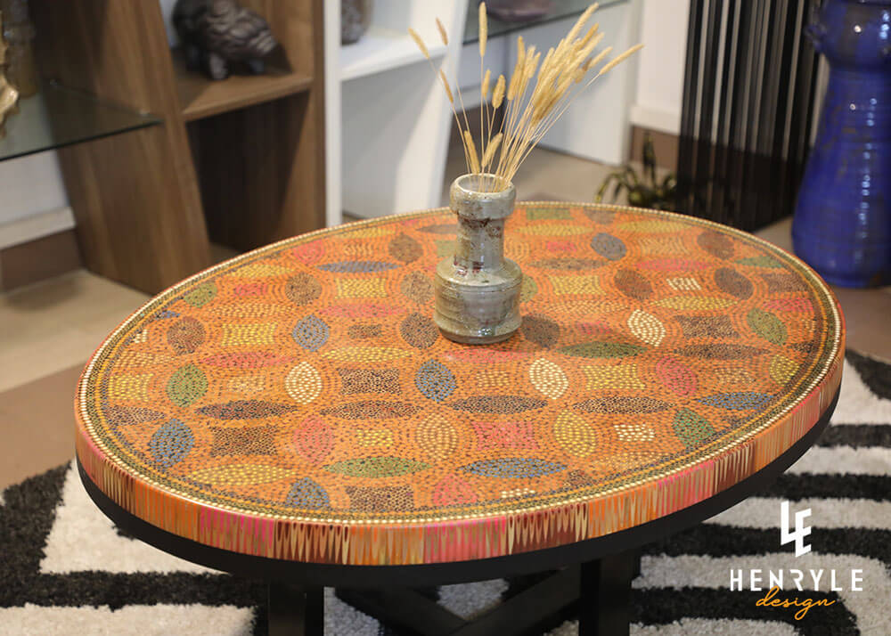 Lucky Coins Colored Pencil Coffee Table with ceramic
