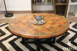 Lucky Coins Colored Pencil Coffee Table with potery