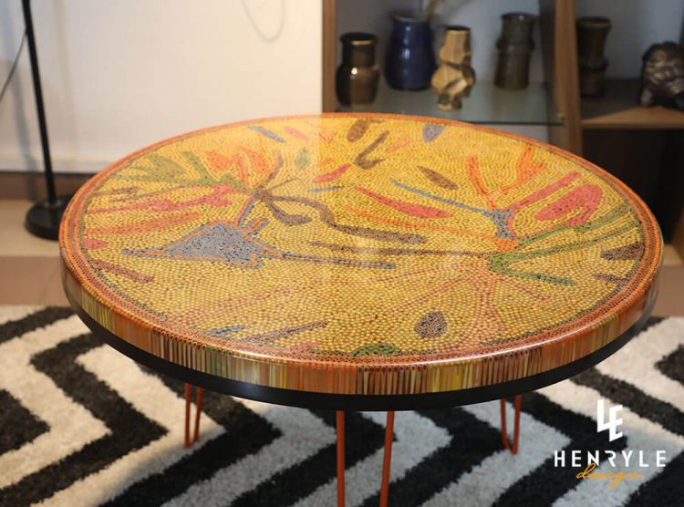 Golden Autumn Colored-Pencil Coffee Table