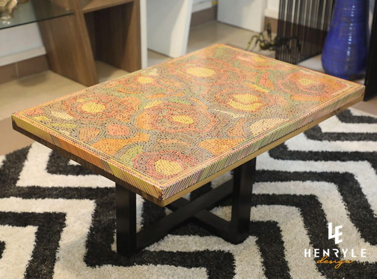 Rose Garden Colored-Pencil Coffee Table II 1