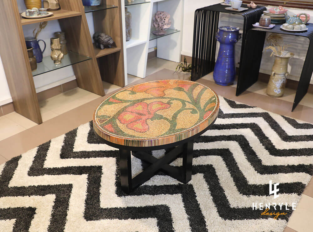 Single Curves Colored-Pencil Coffee Table 3