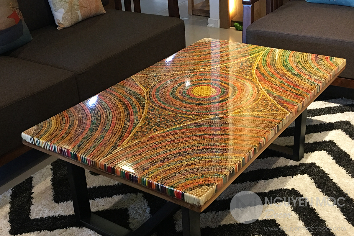 Sun Over the Rainbow Colored-Pencil Coffee Table
