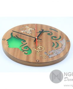Terpsichore Muse Colored-Pencil Wood Wall Clock