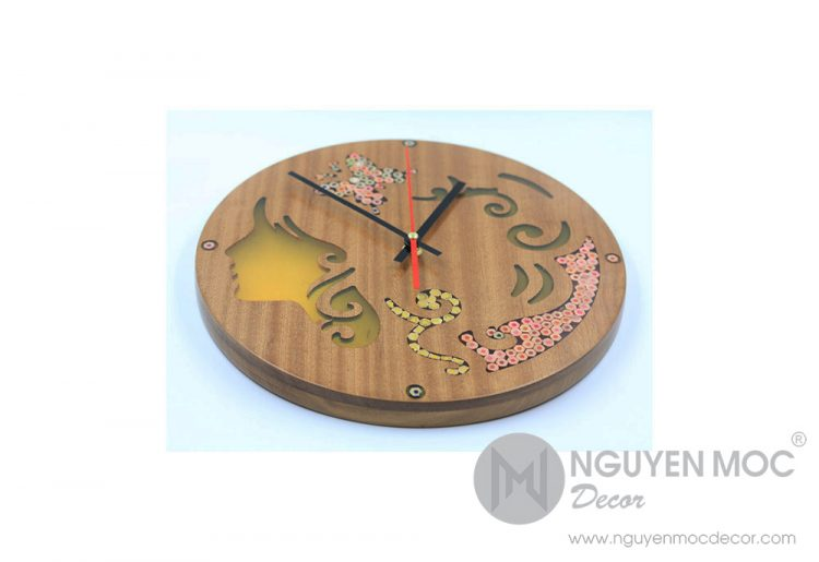 Thalia Muse Colored-Pencil Wood Wall Clock
