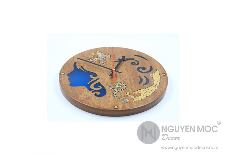 The Euterpe Resin Colored-Pencil Wood Clock