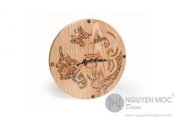 Urania Muse Colored-Pencil Wood Clock