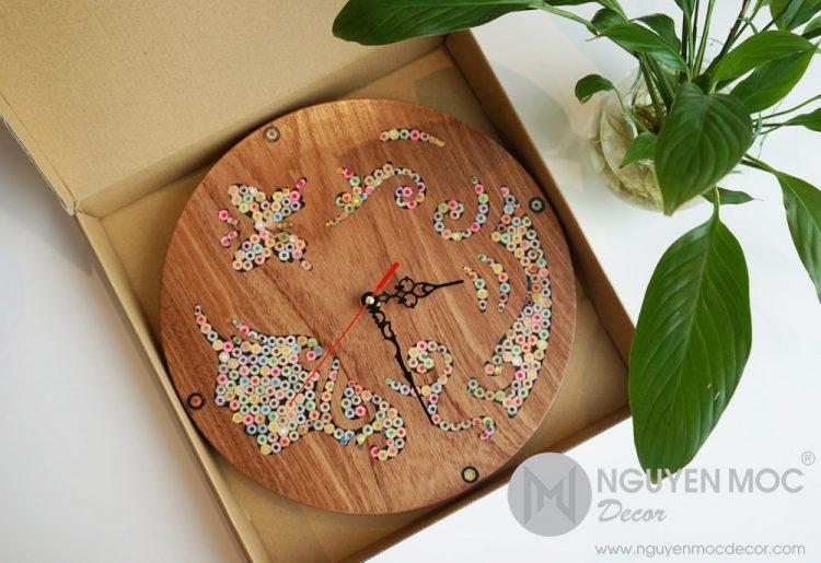 Urania Muse Light Colored-Pencil Wood Wall Clock