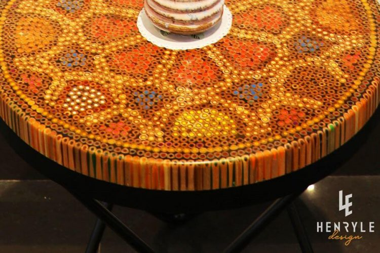Wild Cosmos Flower Colored-Pencil Coffee Table III 1