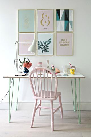 Workspace desk with mint green hairpin legs